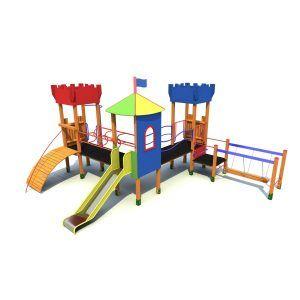 Zamek Hiacynt na plac zabaw z mostem i zjeżdżalnią