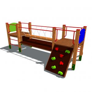 zestaw zabawowy drewniany ze ścianką wspinaczkową