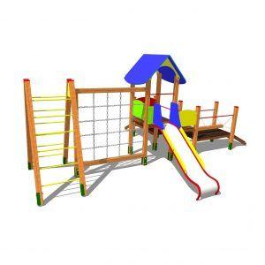 urządzenie na plac zabaw z drabinkami i daszkiem oraz mostem