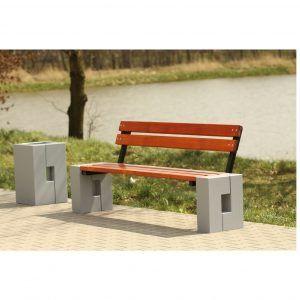 ławka przy alejce kosz betonowy