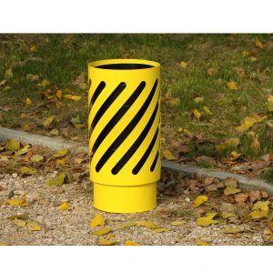 żółty kosz na śmieci do parku i do miasta