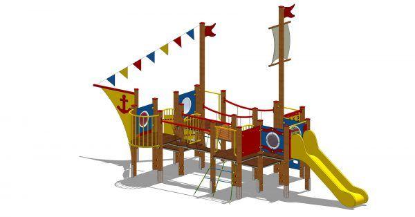 zestaw zabawowy statek z wejściem po linie