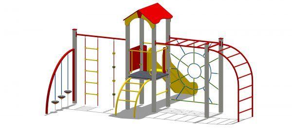 zestaw zabawowy z wieżą i elementami sprawnościowymi