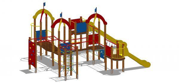 zestaw zabawowy z licznymi przejściami pomiędzy wieżami