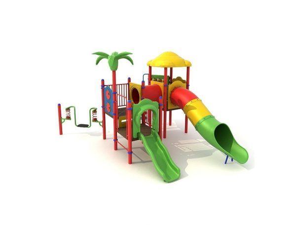 Zestaw na plac zabaw kolorowy ze zjeżdżalniami
