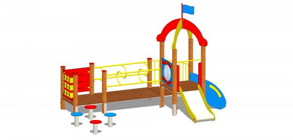 drewniany plac zabaw dla młodszych dzieci