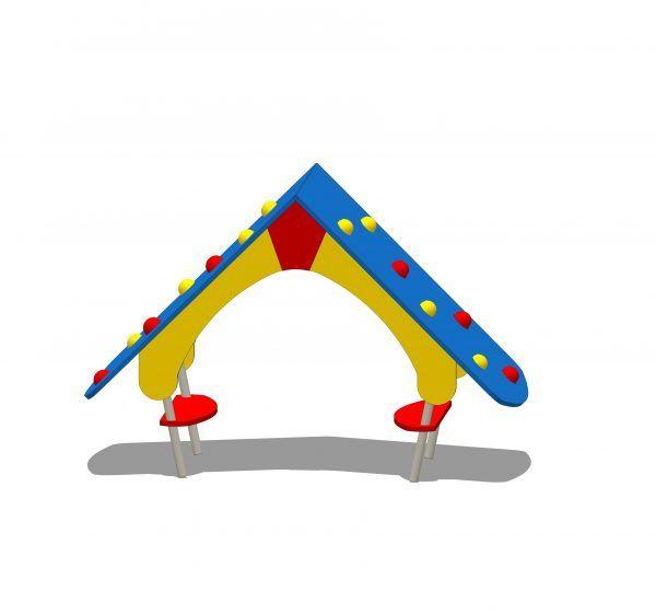 domek na plac zabaw z siedziskami
