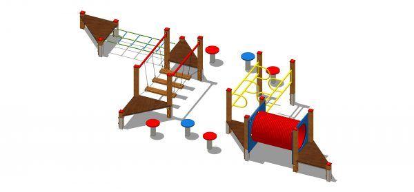 zestaw zabawowy labirynt z przejściem po grzybkach