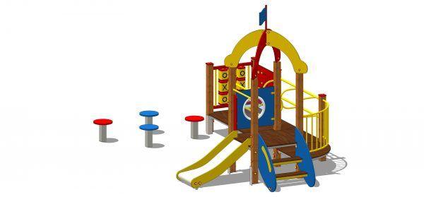 urządzenie na plac zabaw z grzybkami