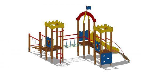 zestaw zabawowy zamek z przejściem ruchomym po linach