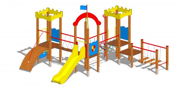 zestaw zabawowy zamek ze zjeżdżalnią