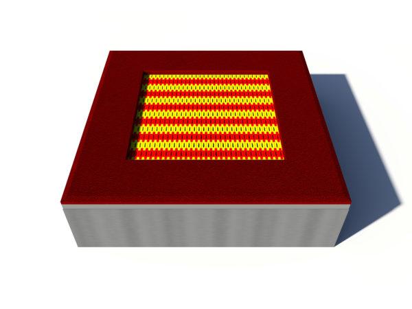 Trampolina ziemna kwadratowa czerwona